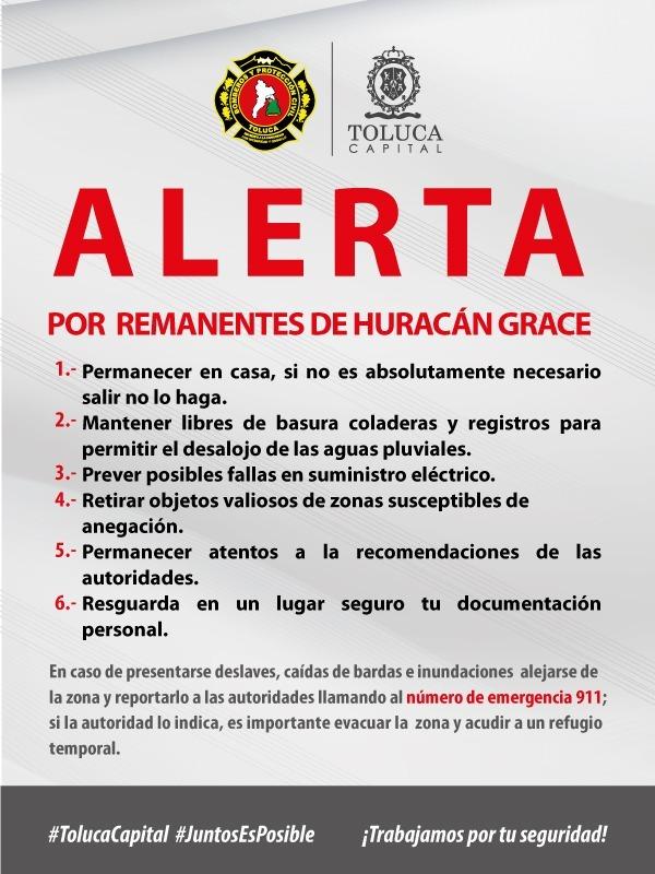 """LLAMA TOLUCA EXTREMAR PRECAUCIONES ANTE EL PASO DEL HURACÁN """"GRACE"""""""