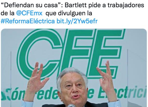 CCE RESPONDE A BARTLETT POR MEDIDAS A REFORMA ELÉCTRICA